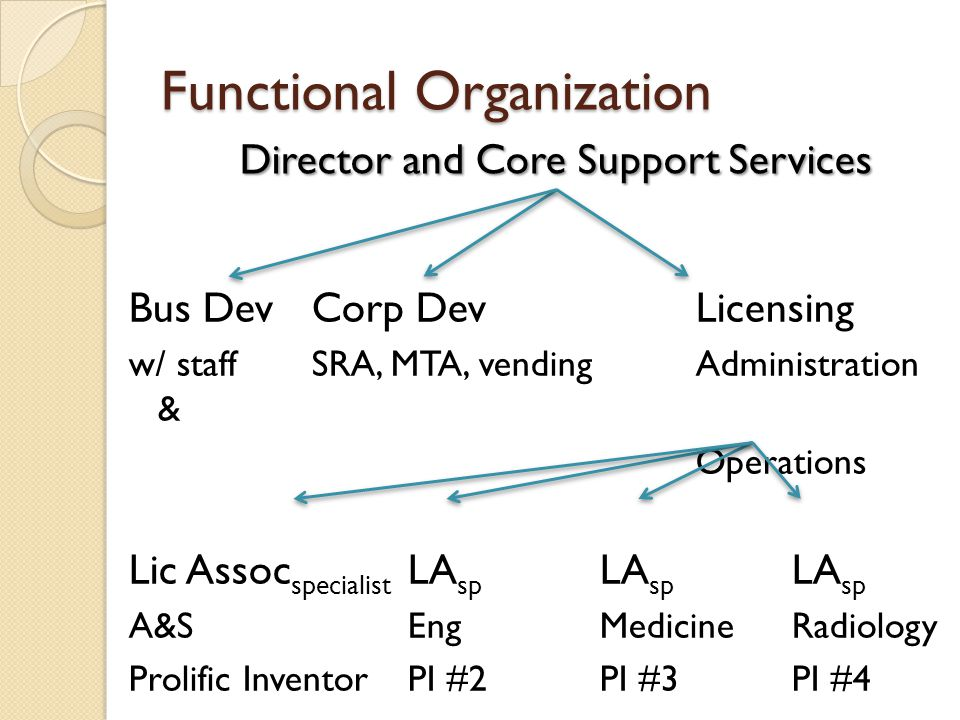 Functional Organization Bus DevCorp DevLicensing w/ staffSRA, MTA, vendingAdministration & Operations Lic Assoc specialist LA sp LA sp LA sp A&SEngMedicineRadiology Prolific InventorPI #2PI #3PI #4 Director and Core Support Services