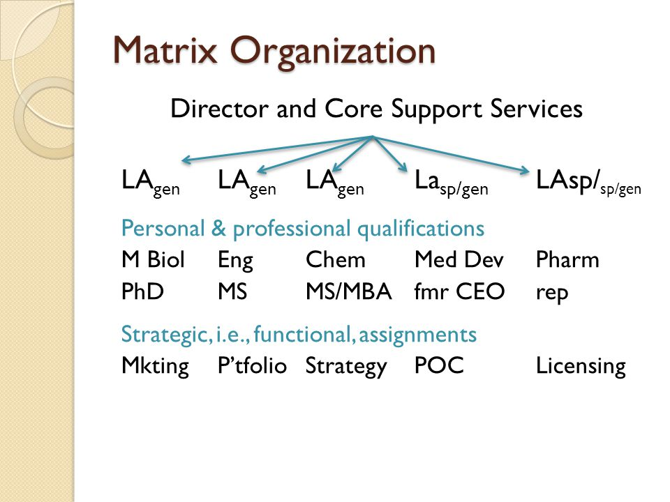Matrix Organization Director and Core Support Services LA gen LA gen LA gen La sp/gen LAsp/ sp/gen Personal & professional qualifications M BiolEngChemMed DevPharm PhDMSMS/MBAfmr CEOrep Strategic, i.e., functional, assignments MktingP'tfolioStrategyPOCLicensing