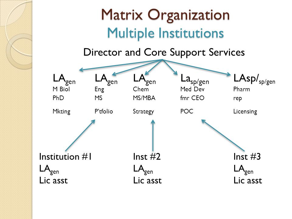 Matrix Organization Multiple Institutions Director and Core Support Services LA gen LA gen LA gen La sp/gen LAsp/ sp/gen M BiolEngChemMed DevPharm PhD
