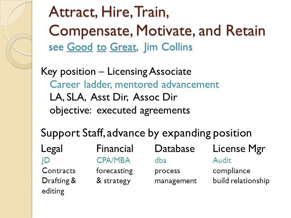 Attract, Hire, Train, Compensate, Motivate, and Retain see Good to Great, Jim Collins Key position – Licensing Associate Career ladder, mentored advancement LA, SLA, Asst Dir, Assoc Dir objective: executed agreements Support Staff, advance by expanding position LegalFinancialDatabaseLicense Mgr JDCPA/MBAdbaAudit Contractsforecastingprocesscompliance Drafting && strategymanagementbuild relationship editing