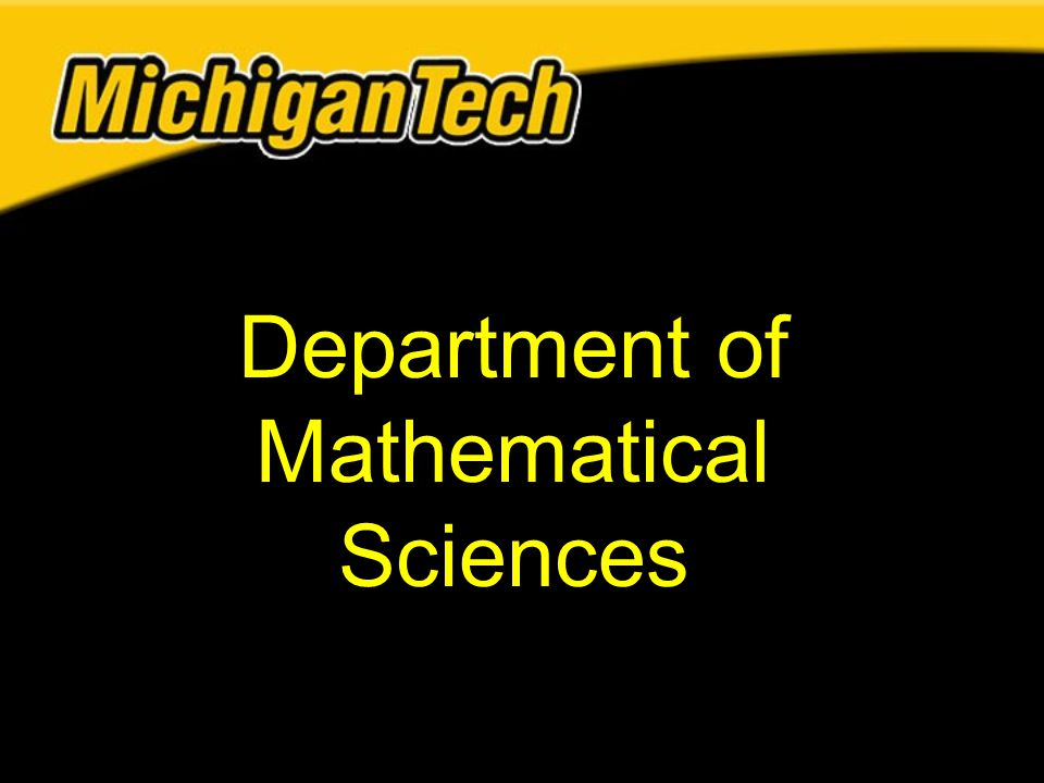 Department of Mathematical Sciences