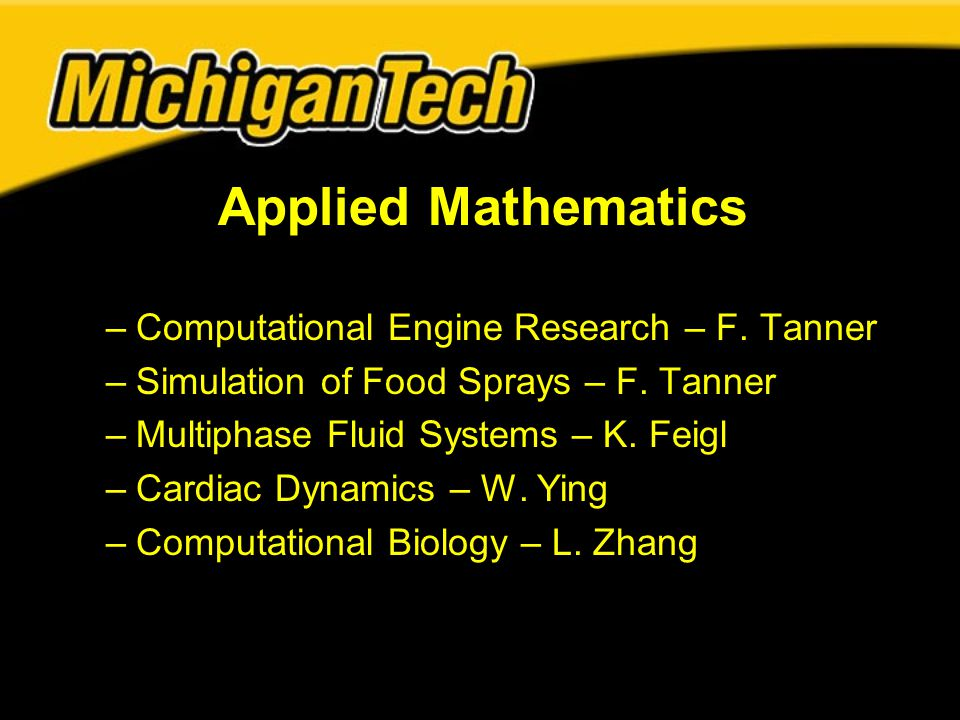 Applied Mathematics –Computational Engine Research – F.