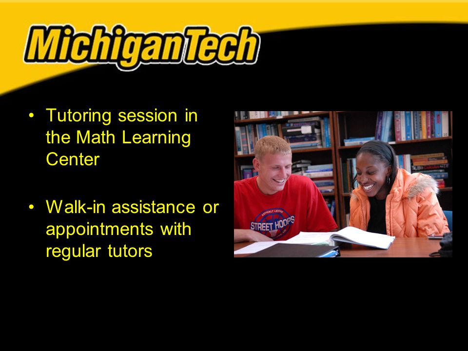 Tutoring session in the Math Learning Center Walk-in assistance or appointments with regular tutors