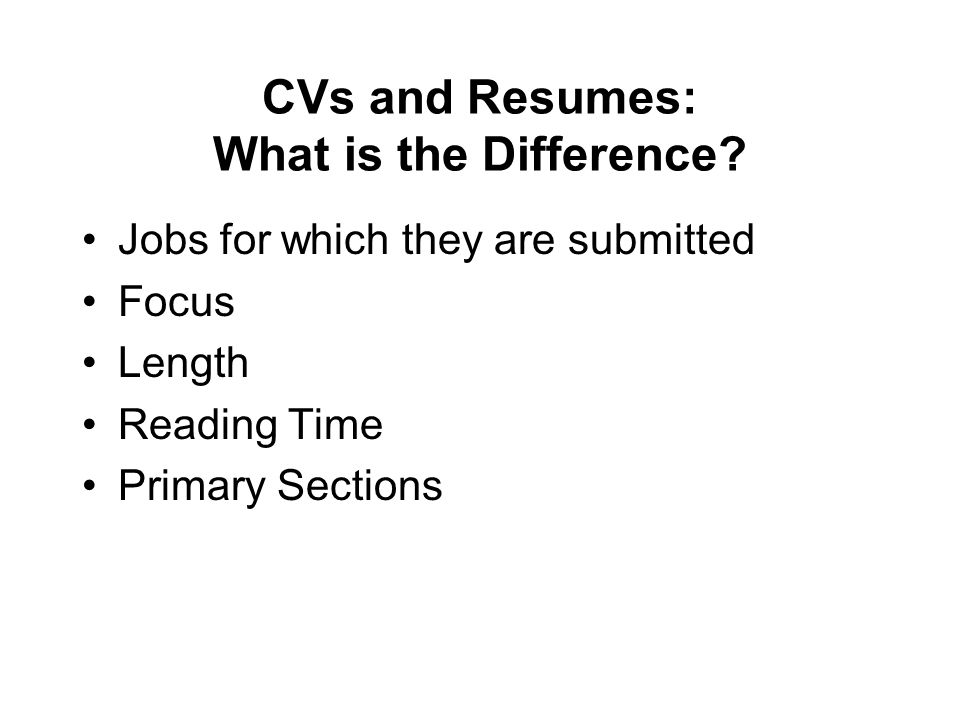 CVs and Resumes: What is the Difference.