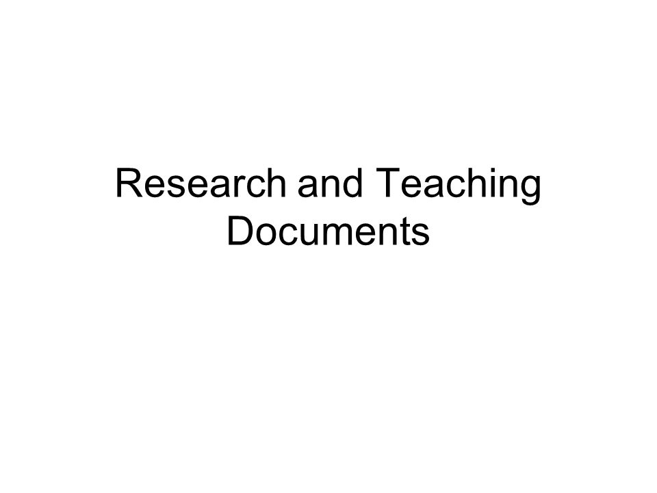 Research and Teaching Documents