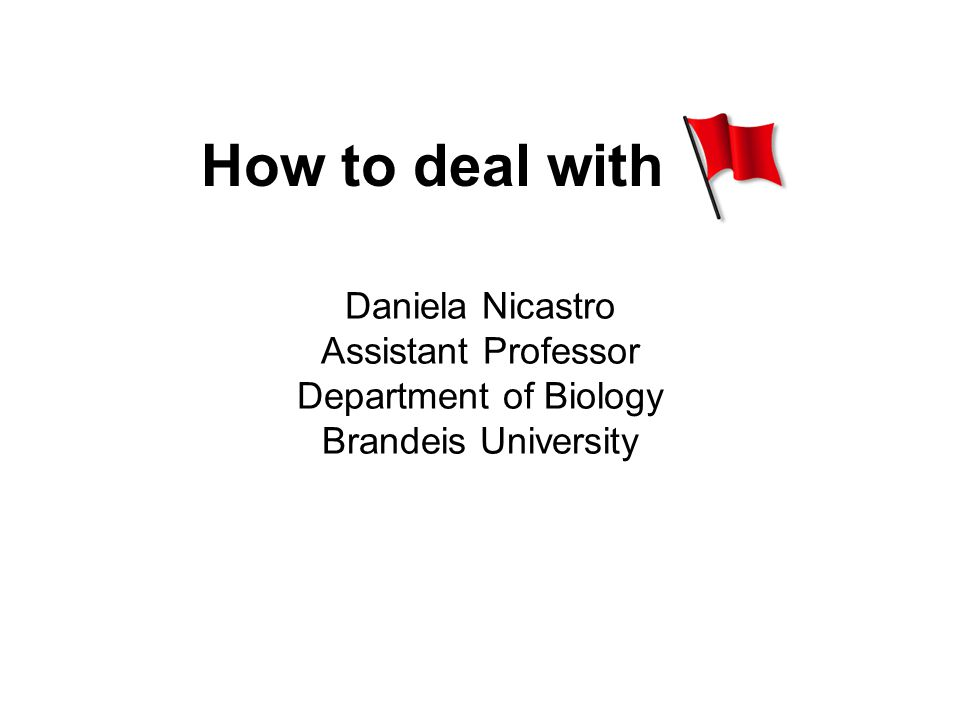 How to deal with Daniela Nicastro Assistant Professor Department of Biology Brandeis University