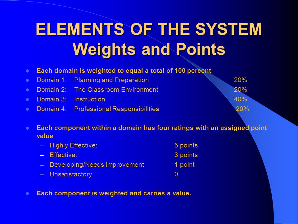 ELEMENTS OF THE SYSTEM Weights and Points Each domain is weighted to equal a total of 100 percent. Domain 1: Planning and Preparation 20% Domain 2: Th