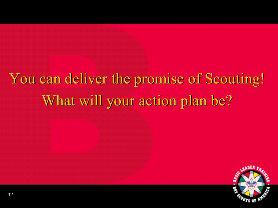 47 You can deliver the promise of Scouting! What will your action plan be? You can deliver the promise of Scouting! What will your action plan be?