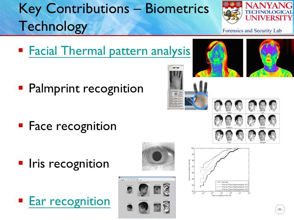 10 Key Contributions – Biometrics Technology  Facial Thermal pattern analysis Facial Thermal pattern analysis  Palmprint recognition  Face recognit