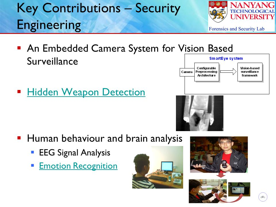 11 Key Contributions – Security Engineering  An Embedded Camera System for Vision Based Surveillance  Hidden Weapon Detection Hidden Weapon Detection  Human behaviour and brain analysis  EEG Signal Analysis  Emotion Recognition Emotion Recognition