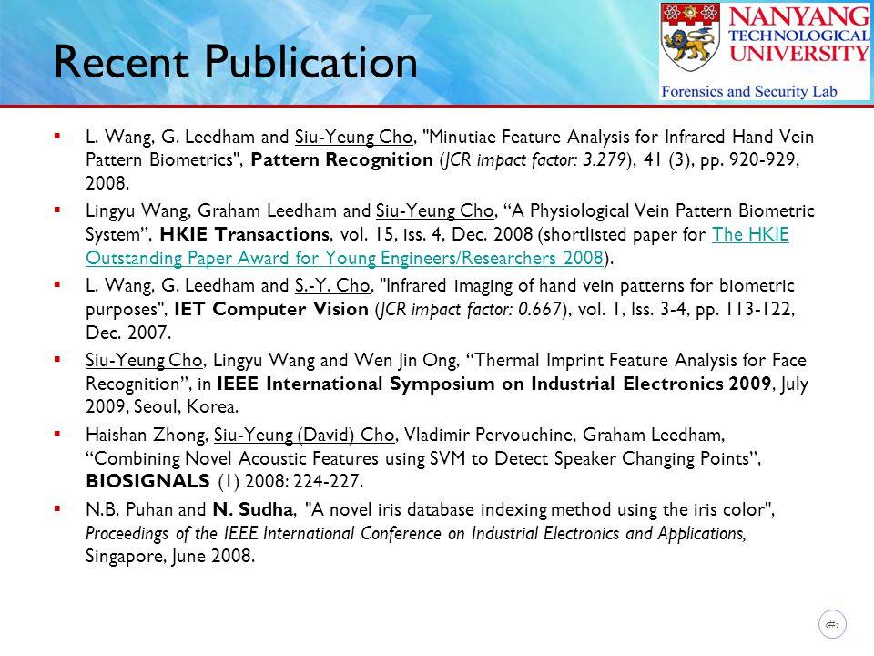 14 Recent Publication  L. Wang, G. Leedham and Siu-Yeung Cho,