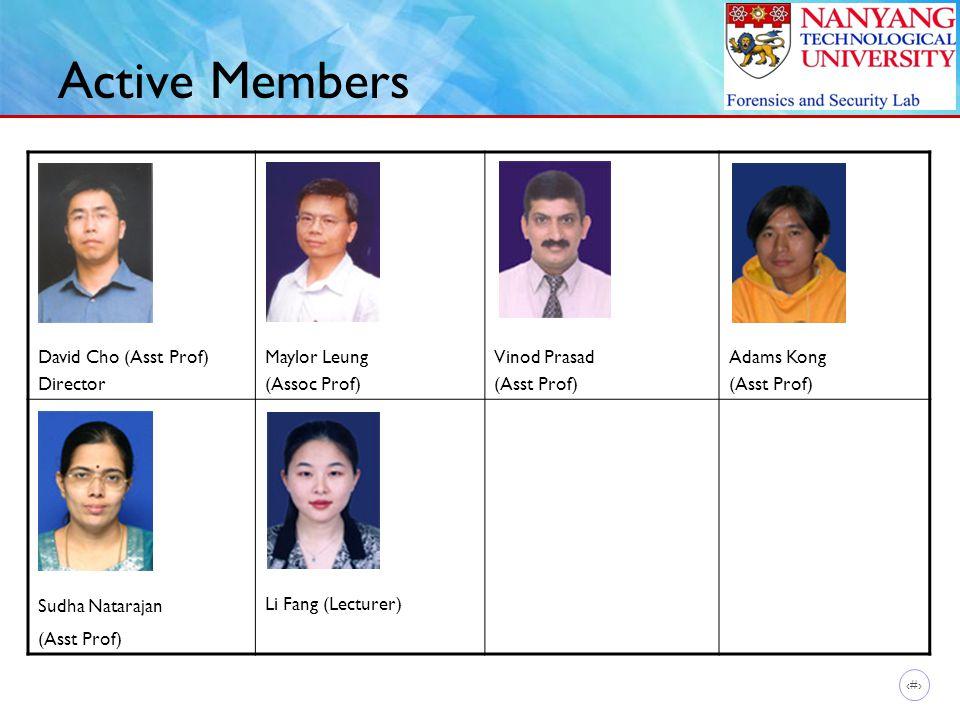 6 Active Members David Cho (Asst Prof) Director Maylor Leung (Assoc Prof) Vinod Prasad (Asst Prof) Adams Kong (Asst Prof) Sudha Natarajan (Asst Prof)