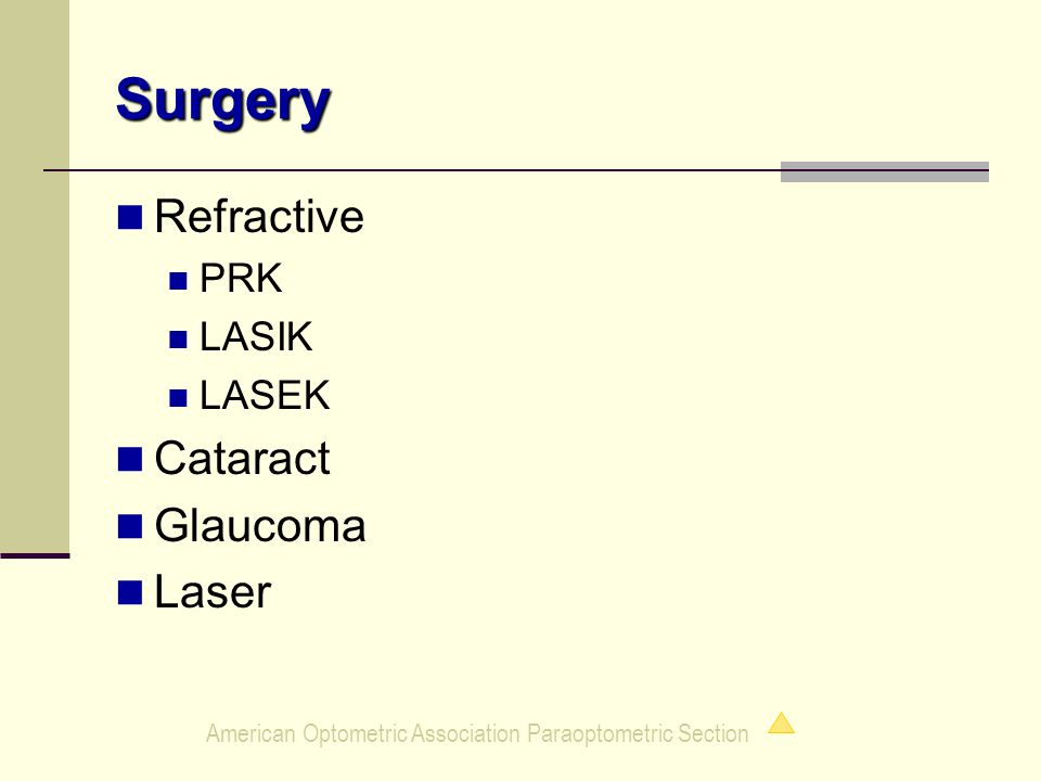 American Optometric Association Paraoptometric Section Surgery Refractive PRK LASIK LASEK Cataract Glaucoma Laser
