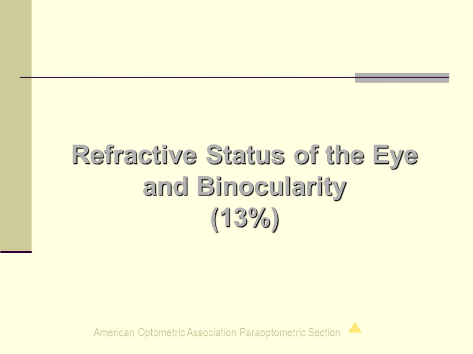 American Optometric Association Paraoptometric Section Refractive Status of the Eye and Binocularity (13%)
