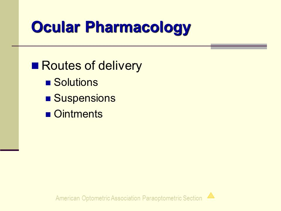 American Optometric Association Paraoptometric Section Ocular Pharmacology Routes of delivery Solutions Suspensions Ointments