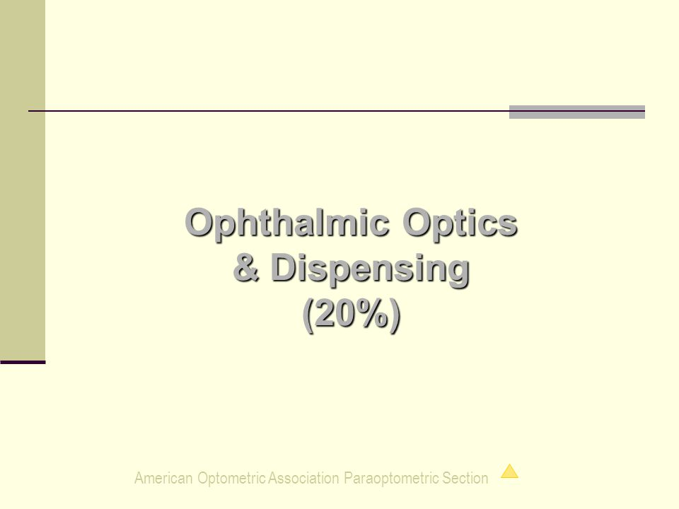 American Optometric Association Paraoptometric Section Ophthalmic Optics & Dispensing (20%)