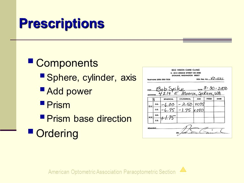 American Optometric Association Paraoptometric Section Prescriptions  Components  Sphere, cylinder, axis  Add power  Prism  Prism base direction  Ordering
