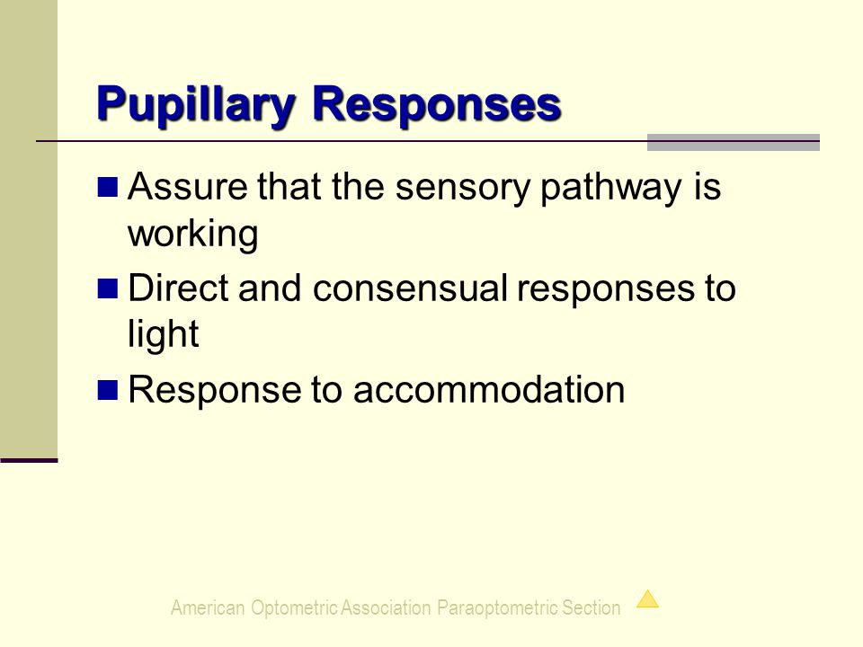 American Optometric Association Paraoptometric Section Pupillary Responses Assure that the sensory pathway is working Direct and consensual responses to light Response to accommodation