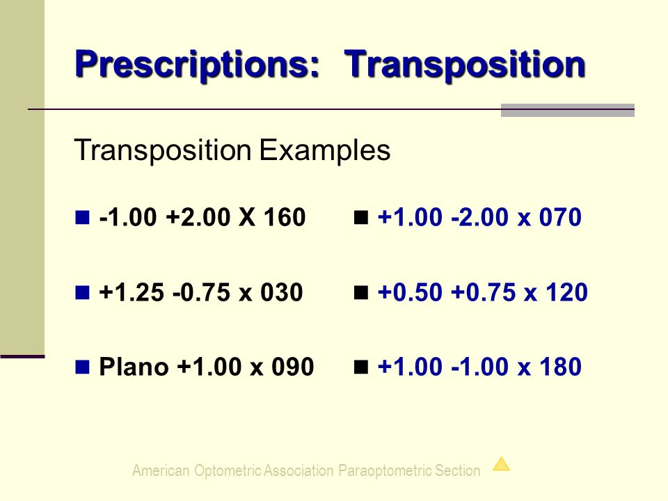 American Optometric Association Paraoptometric Section Prescriptions: Transposition -1.00 +2.00 X 160 +1.25 -0.75 x 030 Plano +1.00 x 090 +1.00 -2.00 x 070 +0.50 +0.75 x 120 +1.00 -1.00 x 180 Transposition Examples