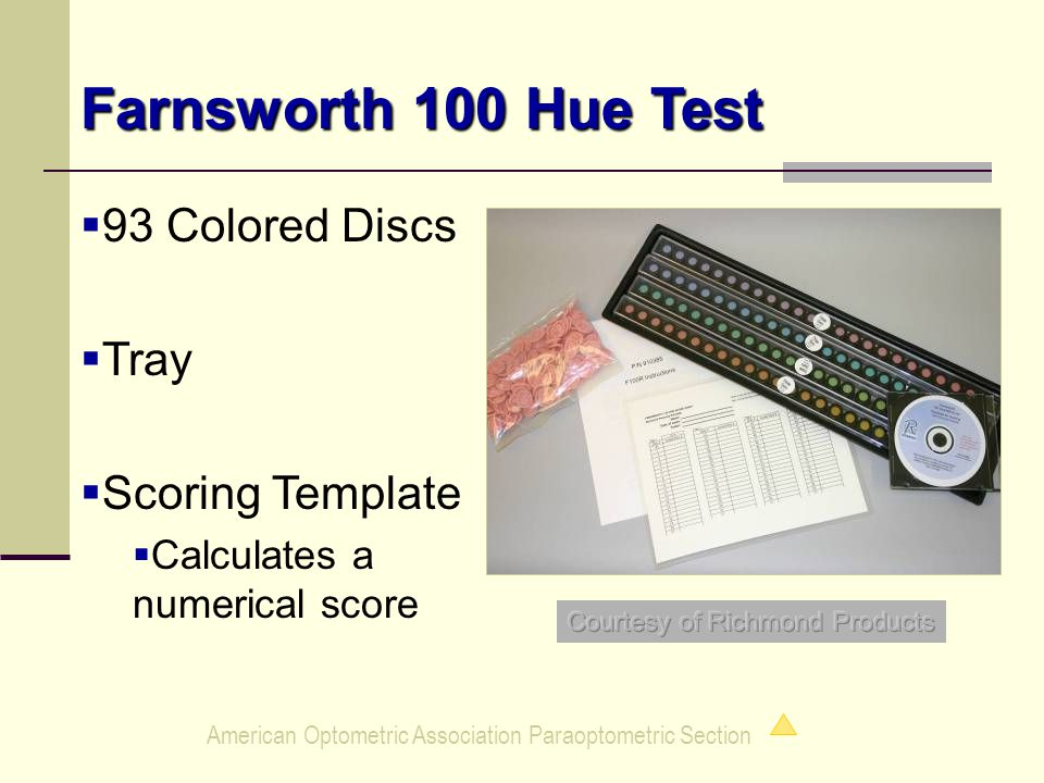 American Optometric Association Paraoptometric Section Farnsworth 100 Hue Test   93 Colored Discs   Tray   Scoring Template   Calculates a numerical score