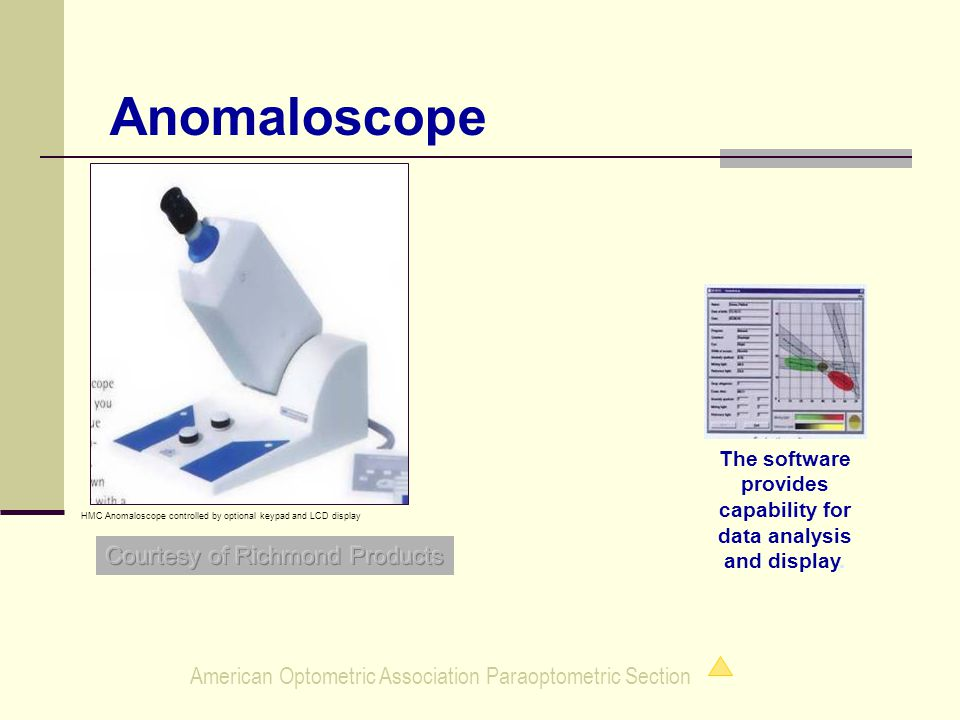 American Optometric Association Paraoptometric Section Anomaloscope HMC Anomaloscope controlled by optional keypad and LCD display The software provides capability for data analysis and display.