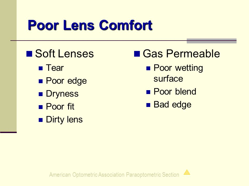 American Optometric Association Paraoptometric Section Soft Lenses Tear Poor edge Dryness Poor fit Dirty lens Gas Permeable Poor wetting surface Poor blend Bad edge Poor Lens Comfort