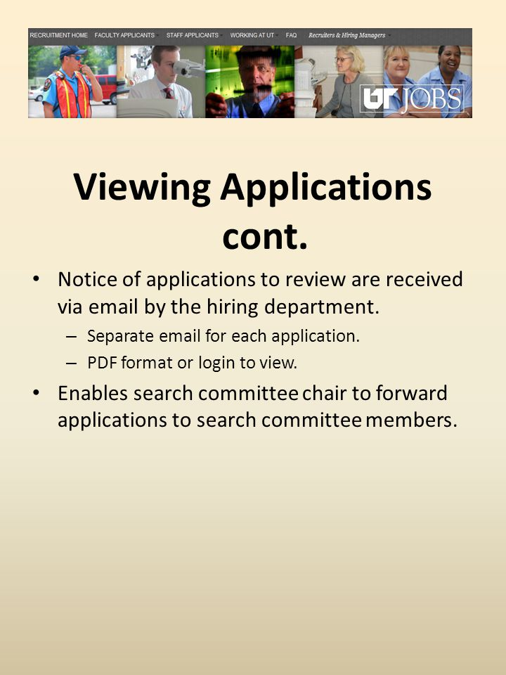 Viewing Applications cont.