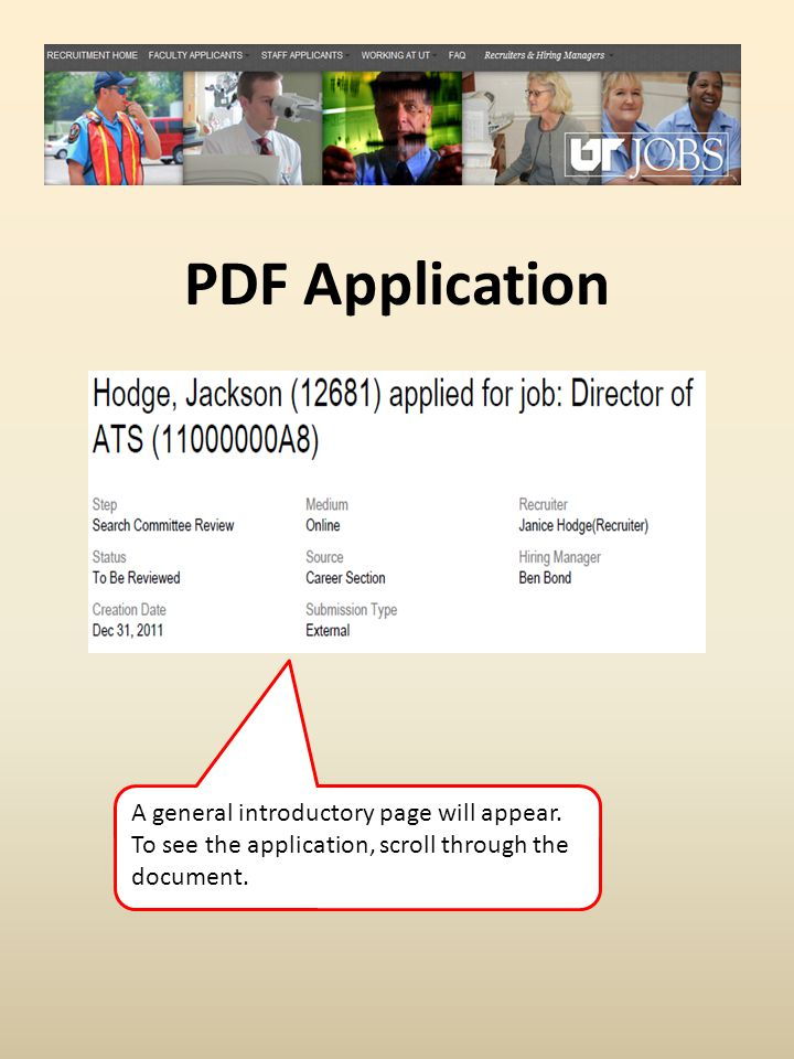 PDF Application A general introductory page will appear.