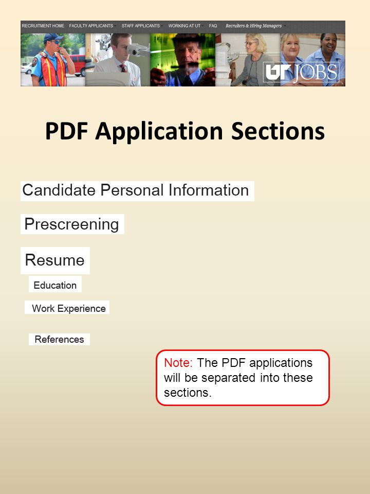 PDF Application Sections Note: The PDF applications will be separated into these sections.