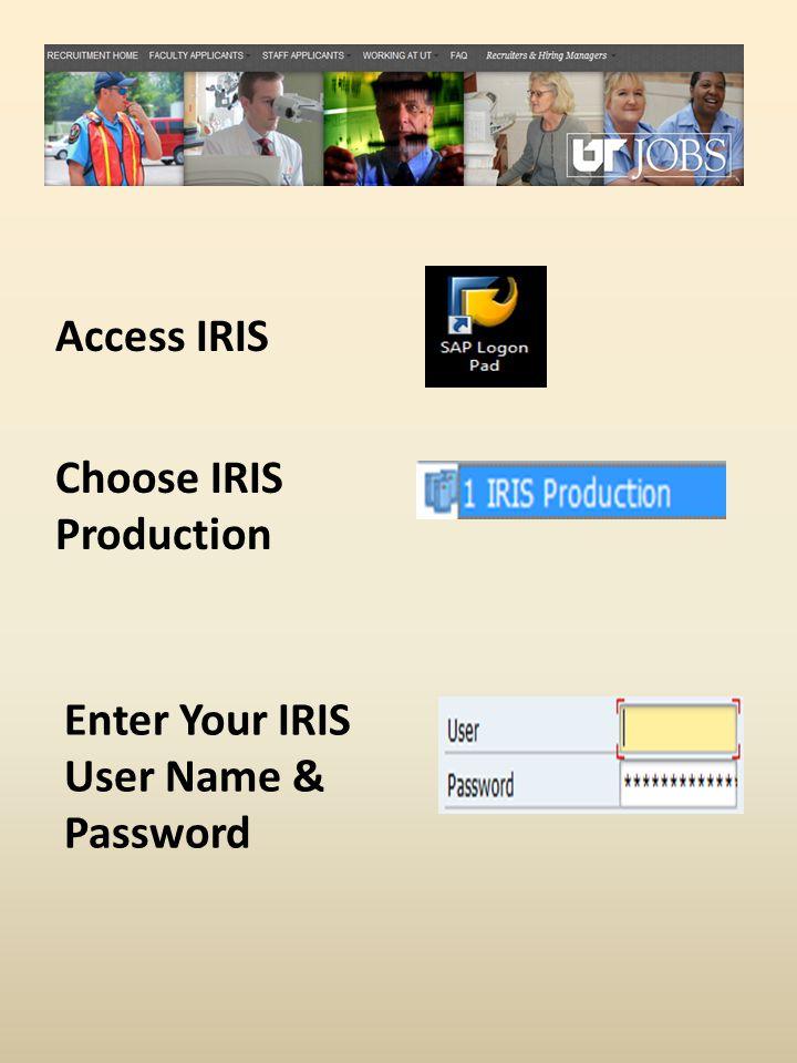 Access IRIS Choose IRIS Production Enter Your IRIS User Name & Password
