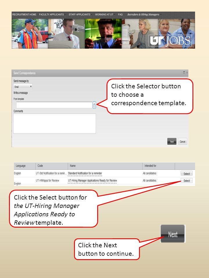 Click the Selector button to choose a correspondence template.