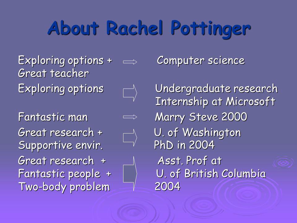 About Rachel Pottinger Exploring options + Computer science Great teacher Exploring options Undergraduate research Internship at Microsoft Fantastic man Marry Steve 2000 Great research + U.
