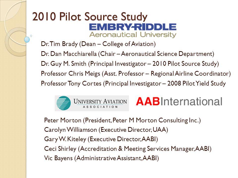 2010 Pilot Source Study Dr. Tim Brady (Dean – College of Aviation) Dr. Dan Macchiarella (Chair – Aeronautical Science Department) Dr. Guy M. Smith (Pr