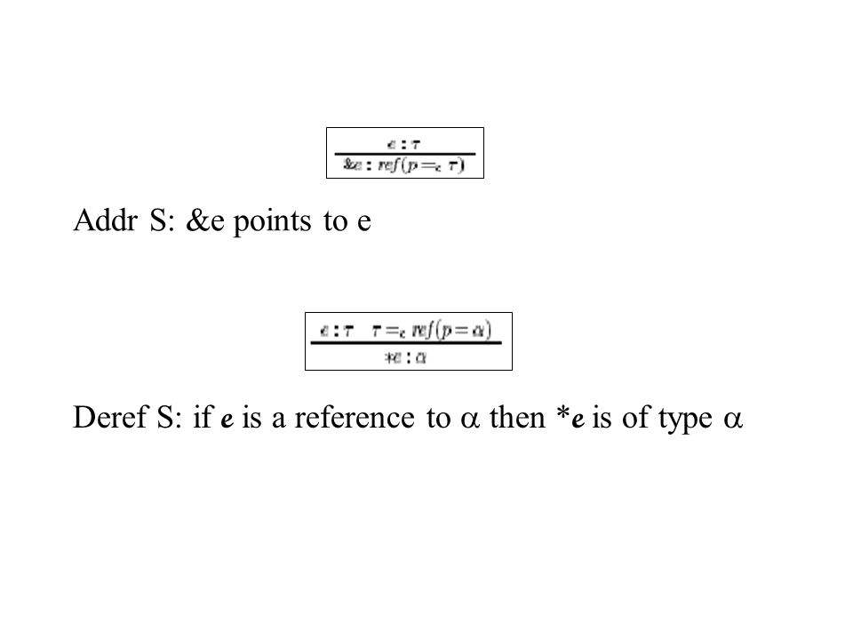 Addr S: &e points to e Deref S: if e is a reference to  then * e is of type 