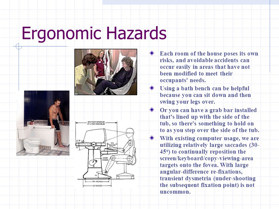 Ergonomic Hazards Each room of the house poses its own risks, and avoidable accidents can occur easily in areas that have not been modified to meet their occupants needs.