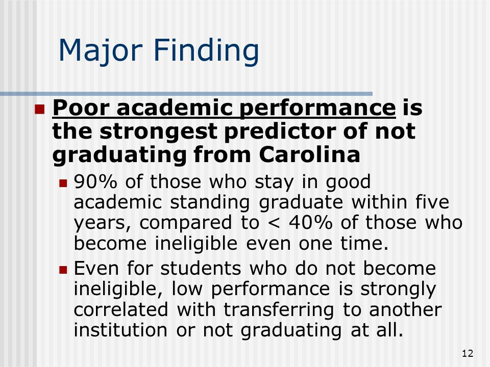Major Finding Poor academic performance is the strongest predictor of not graduating from Carolina 90% of those who stay in good academic standing graduate within five years, compared to < 40% of those who become ineligible even one time.