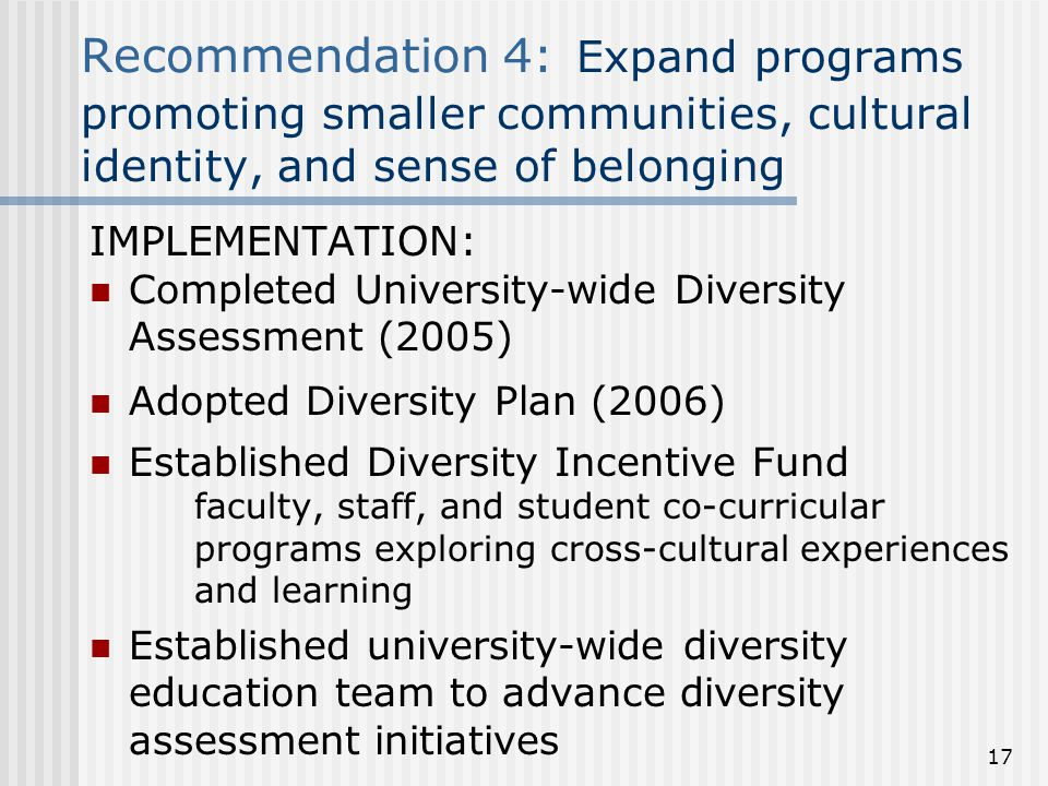 Recommendation 4: Expand programs promoting smaller communities, cultural identity, and sense of belonging IMPLEMENTATION: Completed University-wide Diversity Assessment (2005) Adopted Diversity Plan (2006) Established Diversity Incentive Fund faculty, staff, and student co-curricular programs exploring cross-cultural experiences and learning Established university-wide diversity education team to advance diversity assessment initiatives 17