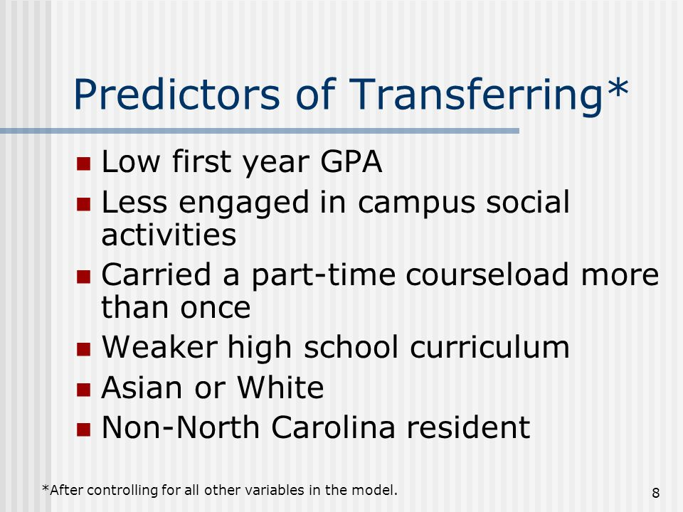 Predictors of Transferring* Low first year GPA Less engaged in campus social activities Carried a part-time courseload more than once Weaker high school curriculum Asian or White Non-North Carolina resident *After controlling for all other variables in the model.