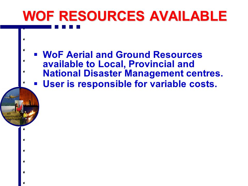 WOF DEPARTMENTS  WoF Programme  Transport  Training  Commercial Operations  Aviation  Corporate Services  Dispatch & Coordination  Financial Department