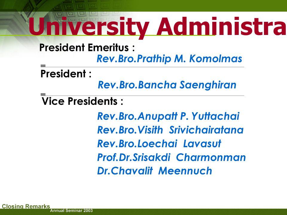 University Administrators President Emeritus : Rev.Bro.Prathip M. Komolmas President : Rev.Bro.Bancha Saenghiran Vice Presidents : Rev.Bro.Anupatt P.