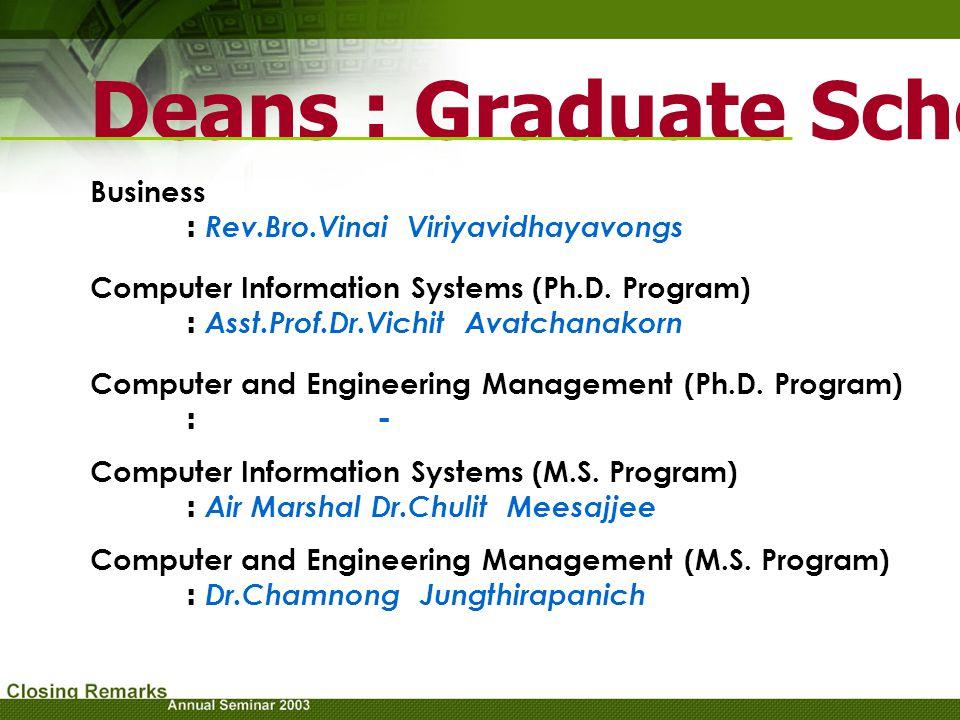 Deans : Graduate School Business : Rev.Bro.Vinai Viriyavidhayavongs Computer and Engineering Management (M.S. Program) : Dr.Chamnong Jungthirapanich C