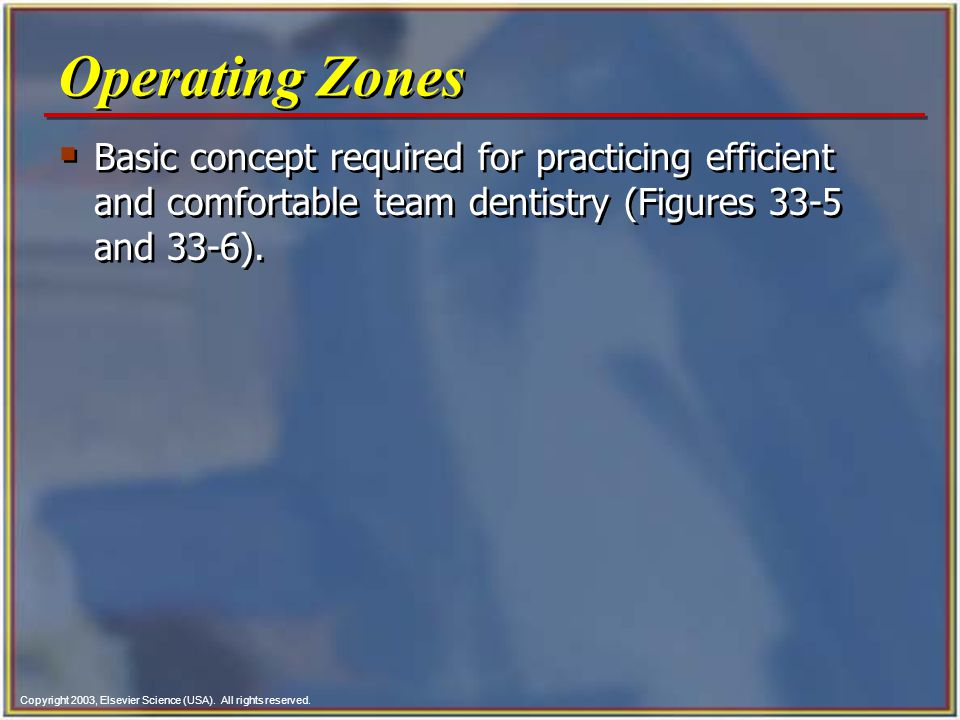 Copyright 2003, Elsevier Science (USA). All rights reserved.  Basic concept required for practicing efficient and comfortable team dentistry (Figures