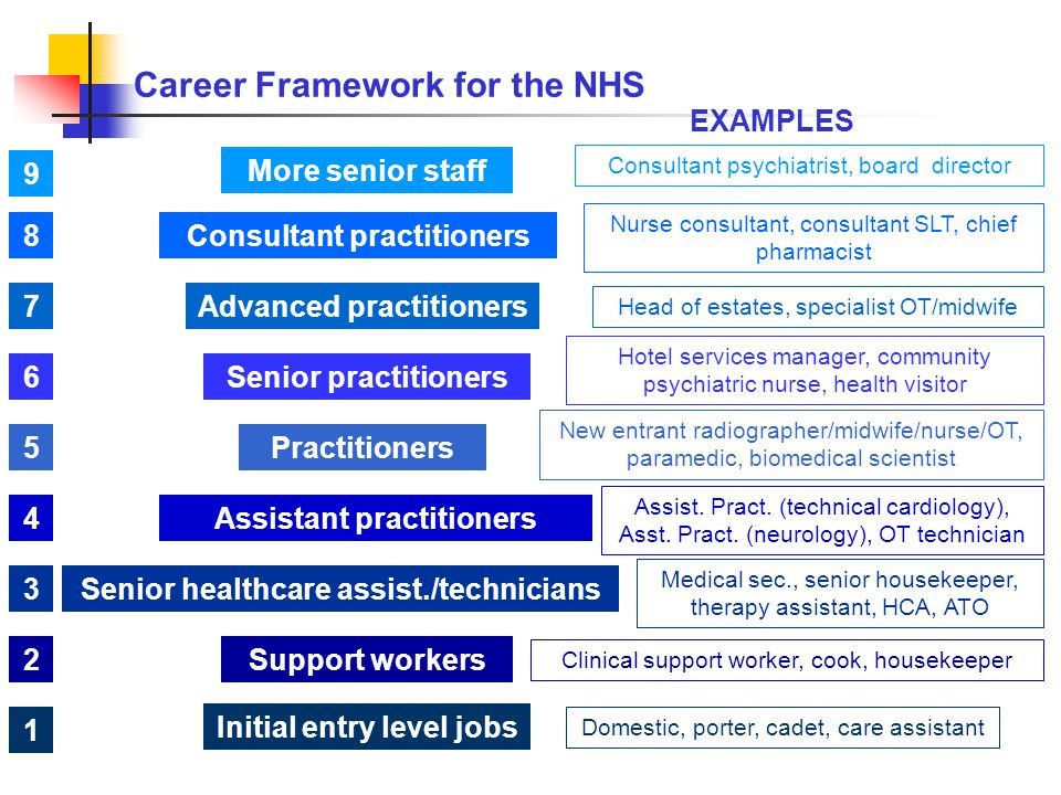 Career Framework for the NHS Initial entry level jobs More senior staff Consultant practitioners Advanced practitioners Senior practitioners Practitioners Assistant practitioners Senior healthcare assist./technicians Support workers Domestic, porter, cadet, care assistant Medical sec., senior housekeeper, therapy assistant, HCA, ATO Clinical support worker, cook, housekeeper Consultant psychiatrist, board director Nurse consultant, consultant SLT, chief pharmacist Head of estates, specialist OT/midwife Hotel services manager, community psychiatric nurse, health visitor New entrant radiographer/midwife/nurse/OT, paramedic, biomedical scientist Assist.