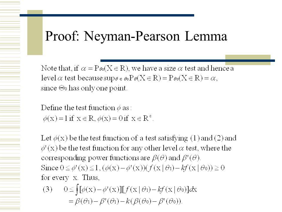 Proof: Neyman-Pearson Lemma