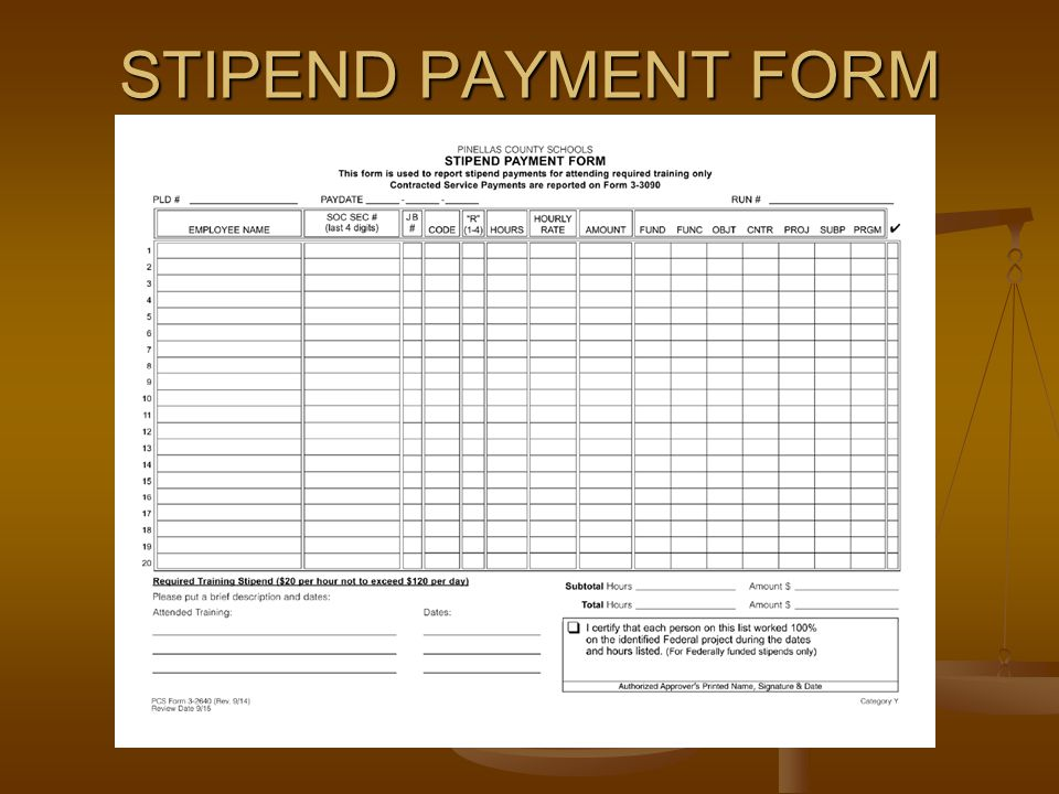 STIPEND PAYMENT FORM