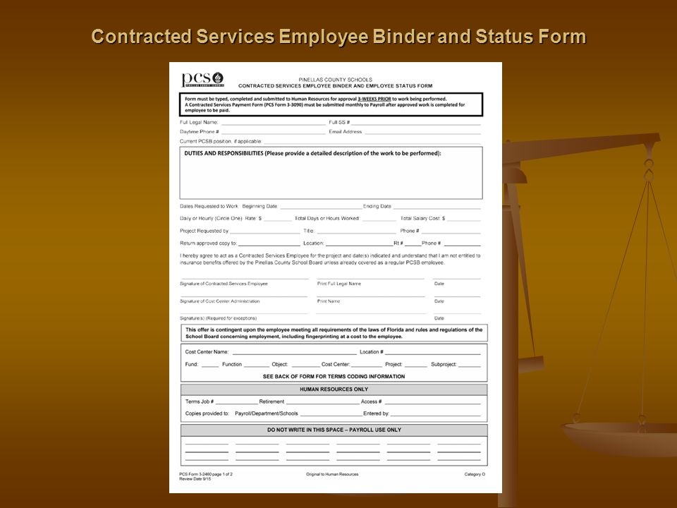 Contracted Services Employee Binder and Status Form