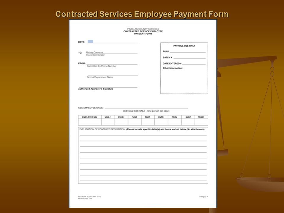 Contracted Services Employee Payment Form
