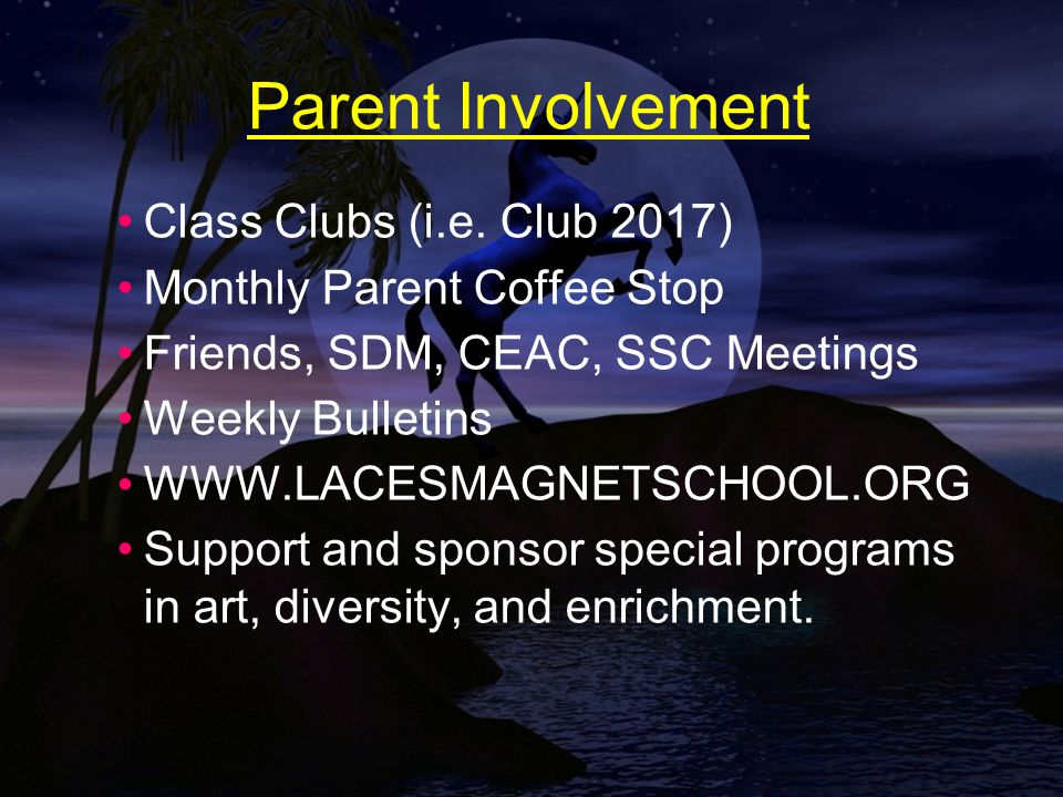 Parent Involvement Class Clubs (i.e.