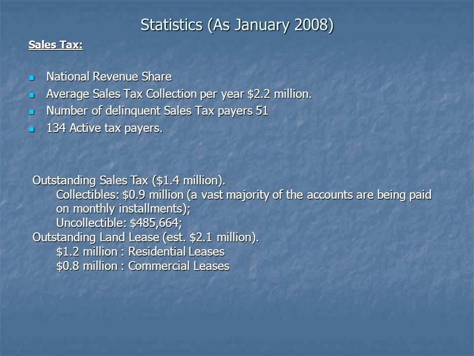 Statistics (As January 2008) Sales Tax: National Revenue Share National Revenue Share Average Sales Tax Collection per year $2.2 million.