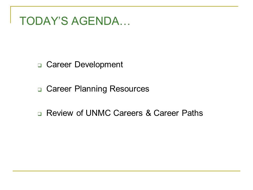 TODAY'S AGENDA…  Career Development  Career Planning Resources  Review of UNMC Careers & Career Paths